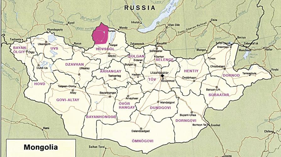 Dukhade ehk tsaatanite maa on kaardil tähistatud punaselt. Foto: lyzoos.wordpress.com